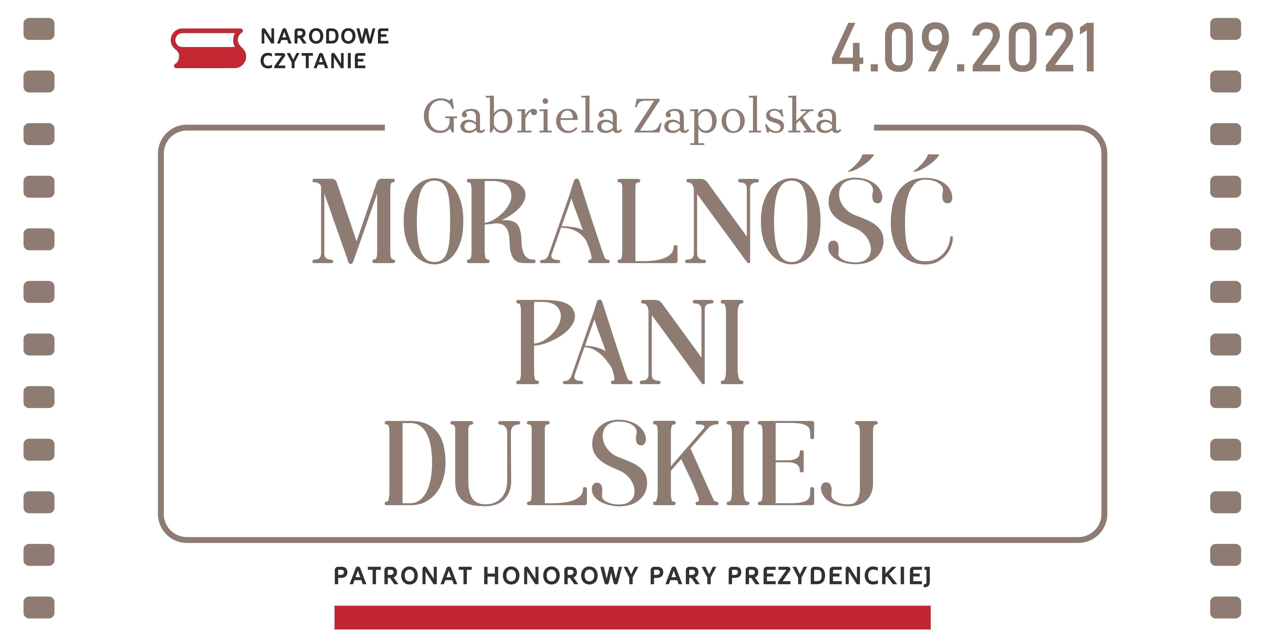 Narodowe Czytanie 2021 - Moralność pani Dulskiej - baner reklamowy